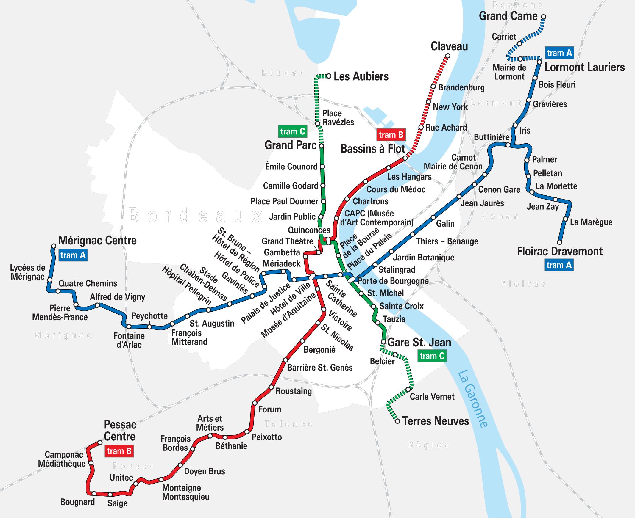 plan du Tram de Bordeaux
