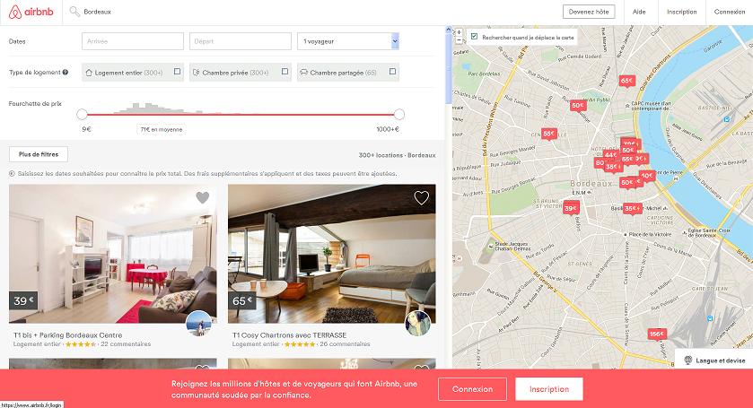 Crédit photo : Capture écran site Airbnb sur Bordeaux
