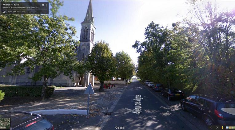 Aperçu de l'église de Salleboeuf via Google Street View